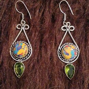 NEW Mosaic Jasper & Peridot Sterling Earrings